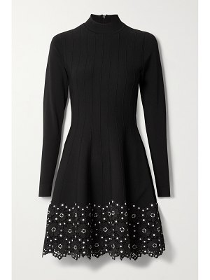 Lela Rose crocheted lace-trimmed ribbed stretch-knit dress