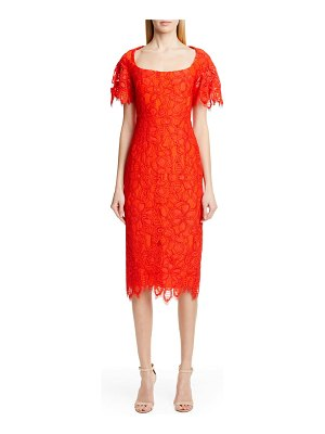 Lela Rose flutter sleeve eyelash lace midi dress