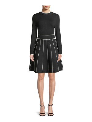 Lela Rose Long-Sleeve Crewneck Striped Fit-and-Flare Knit Cocktail Dress