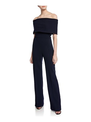 Lela Rose Off-the-Shoulder Crepe Jumpsuit