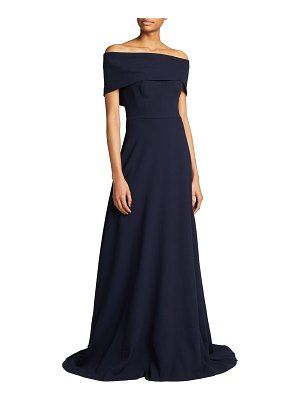 Lela Rose Off-the-Shoulder Cuffed Gown