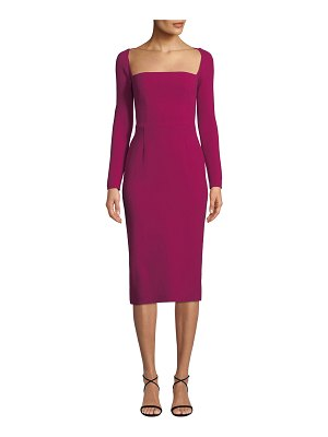 Lela Rose Open-Neck Long-Sleeve Fitted Sheath Cocktail Dress