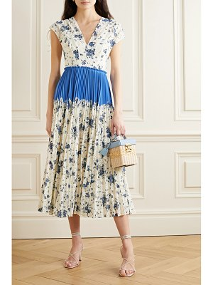 Lela Rose pleated floral-print corded lace and crepe midi dress