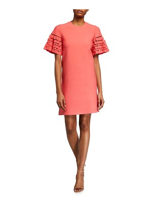 Lela Rose Short-Sleeve Tunic Dress