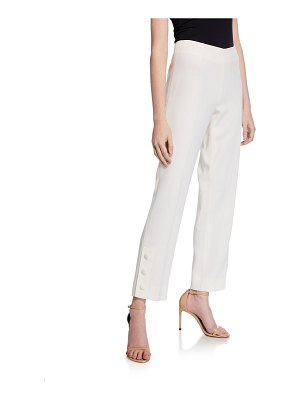 Lela Rose Stretch-Wool Straight Leg Pants
