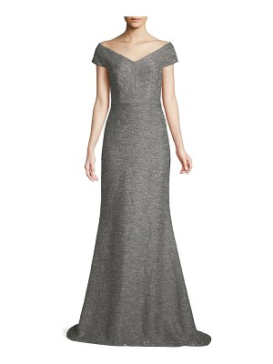 Lela Rose V-Neck A-Line Speckled Tweed Evening Gown