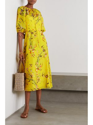 Lela Rose wildflower tie-detailed floral-print cotton and silk-blend voile midi dress