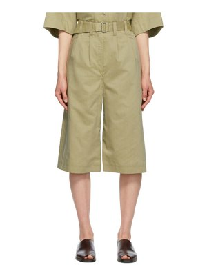 LEMAIRE green silk pleated bermuda shorts