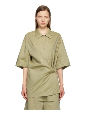 LEMAIRE green silk twisted maxi shirt