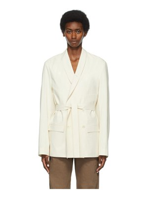 LEMAIRE ssense exclusive beige belted double-breasted blazer