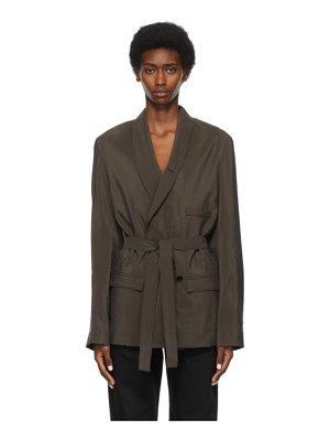 LEMAIRE ssense exclusive taupe belted double-breasted blazer