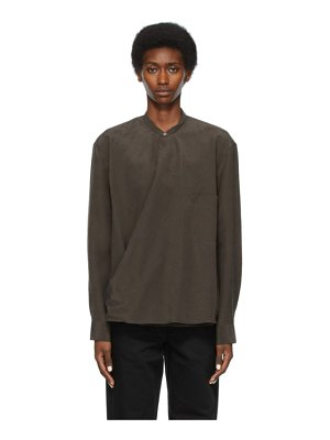 LEMAIRE ssense exclusive taupe dry silk wrapover shirt