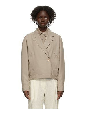 LEMAIRE taupe wool short jacket