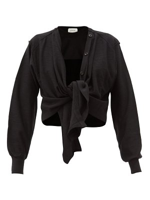 LEMAIRE tied-overlay merino wool-blend jersey sweater