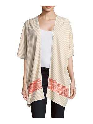 LEO & SAGE Cotton Striped Open-Front Cardigan