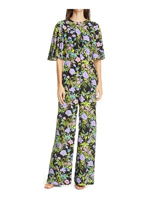 Les Reveries floral flutter sleeve silk jumpsuit