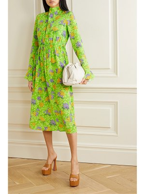 Les Rêveries gathered floral-print silk-crepe midi dress
