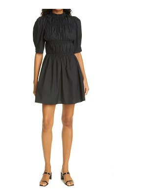 Les Reveries smocked puff sleeve cotton dress