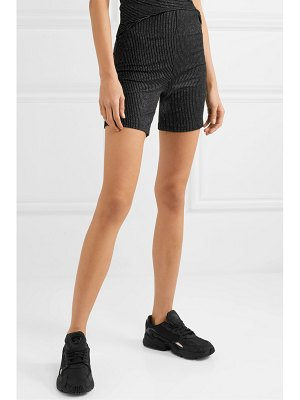 Leset sasha metallic striped stretch-knit shorts