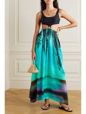 Leslie Amon gaia printed woven and stretch-jersey maxi dress