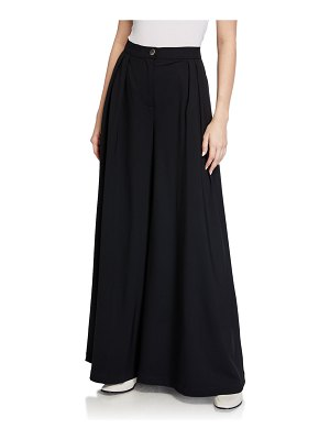 LESYANEBO High-Waist Pleated Wide-Leg Trousers