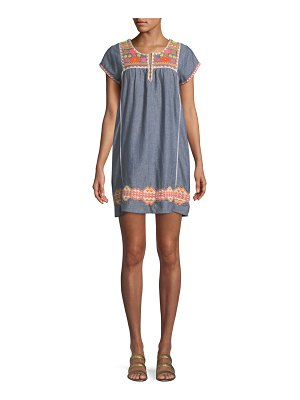 Letarte Embroidered Short-Sleeve Tunic Dress Coverup
