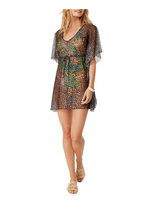 Letarte Leopard-Print Luxe Coverup with Tie Waist