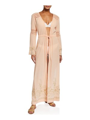 Letarte Mallorca Long-Sleeve Embroidered Kaftan