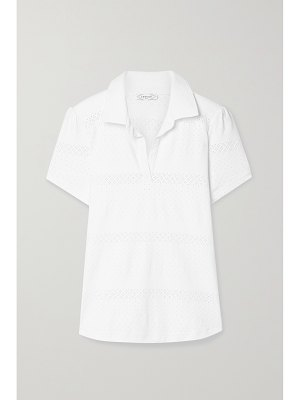 L'Etoile Sport pointelle-trimmed stretch-jersey polo shirt