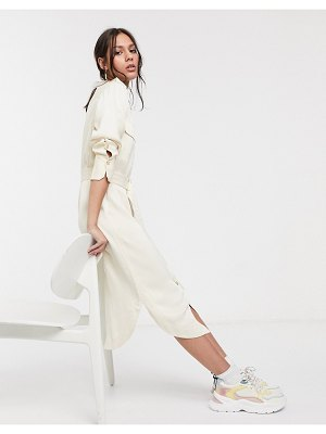 Levete Room belted utility midi shirt dress in cream