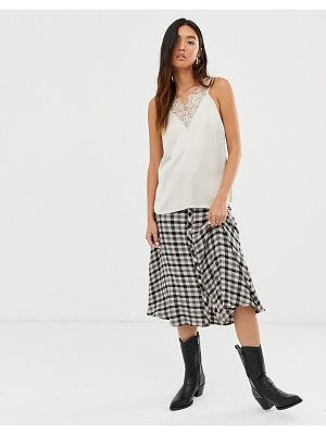 Levete Room check midi skirt with button front-multi