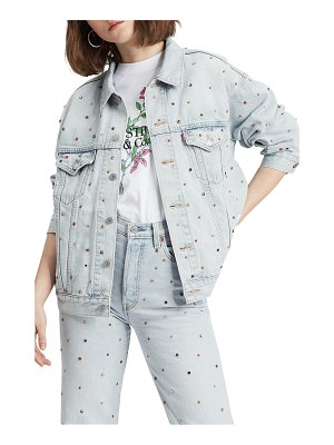 Levi's crystal embellished dad denim trucker jacket