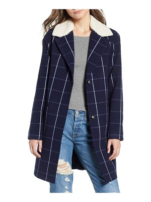 Levi's wool top coat with faux shearling collar