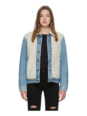 Levis off-white and blue sherpa trucker jacket