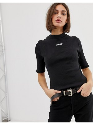 Levi's slim t-shirt in fine rib with logo-black