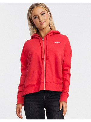 Levi's zip through hoodie with small logo in red-black