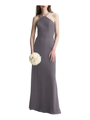 Levkoff # high neck chiffon a-line gown