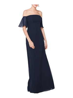 Levkoff # off the shoulder fluted sleeve chiffon gown