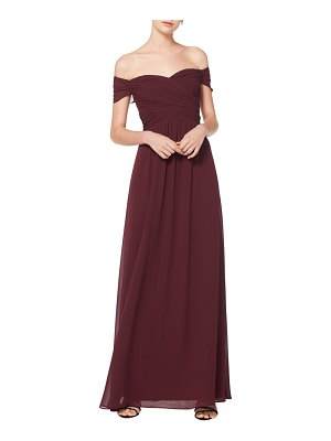 Levkoff # off the shoulder ruched bodice chiffon evening dress