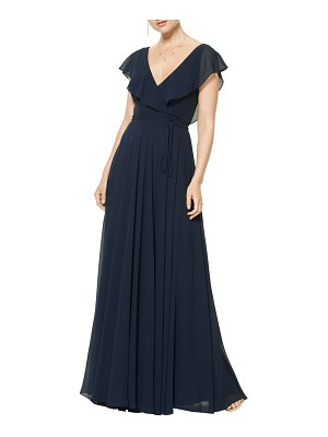 Levkoff # ruffle v-neck wrap gown