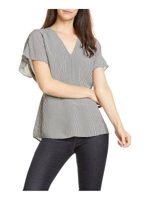 LEWIT gingham v-neck top