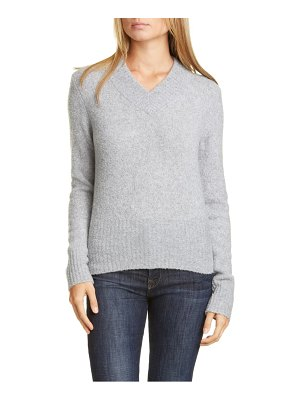 LEWIT v-neck merino wool & cashmere blend boucle sweater