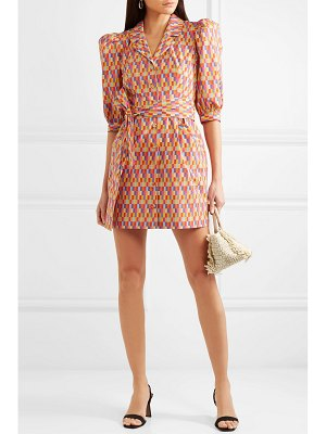 LHD casita belted printed stretch-cotton broadcloth midi dress