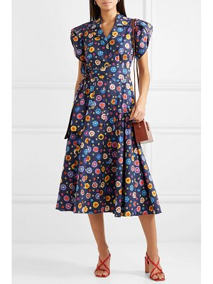 LHD glades belted floral-print stretch-cotton broadcloth midi dress