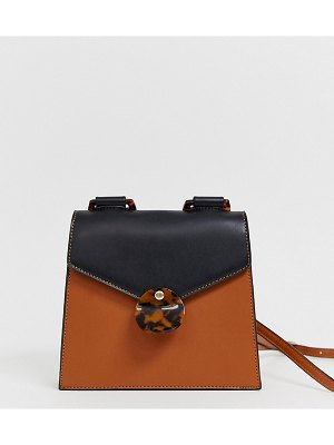 Liars & Lovers exclusive brown foldover cross body bag with tortoiseshell resin detail