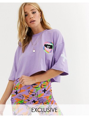 Life is Beautiful cropped t-shirt with print two-piece-purple
