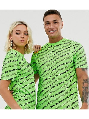 Life is Beautiful unisex all over logo relaxed t-shirt-green