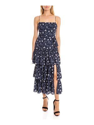 LIKELY Leros Tiered Floral Square-Neck Long Dress