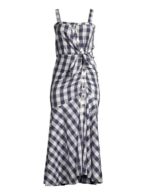 LIKELY minka ruched gingham midi dress