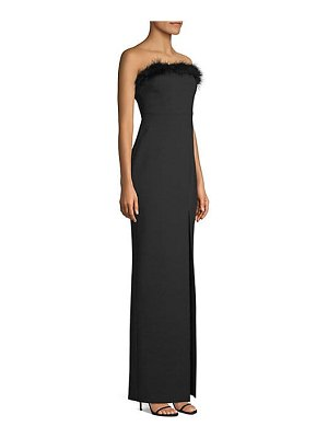 LIKELY presley feather-trim sleeveless column gown